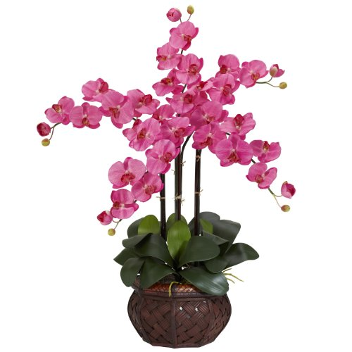 (Nearly Natural 1211-DP Phalaenopsis with Decorative Vase Silk Flower Arrangement, Dark Pink)