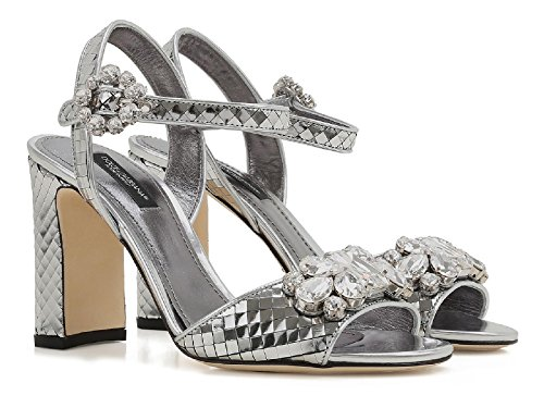 Dolce & Gabbana High Heel Sandals in Silver Leather - Model Number: CR0220 AE702 8D710 Silver best wholesale cheap online zdUvf3