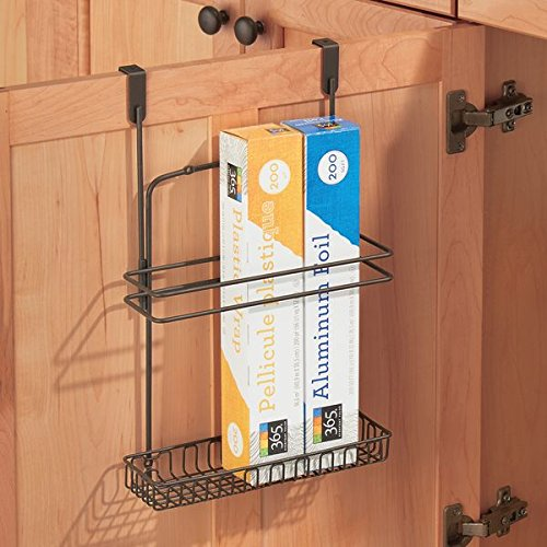 InterDesign Classico Over-the-Cabinet Kitchen Storage Organizer for Aluminum Foil, Sandwich Bags, Plastic Wrap, Cleaning Supplies - Bronze