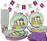 Cat Kitty Birthday Party Supplies Decorations The 141 Piece (Serves 20) Celebration Themed Pack Plates Cups Napkins Banner Kitten Kit