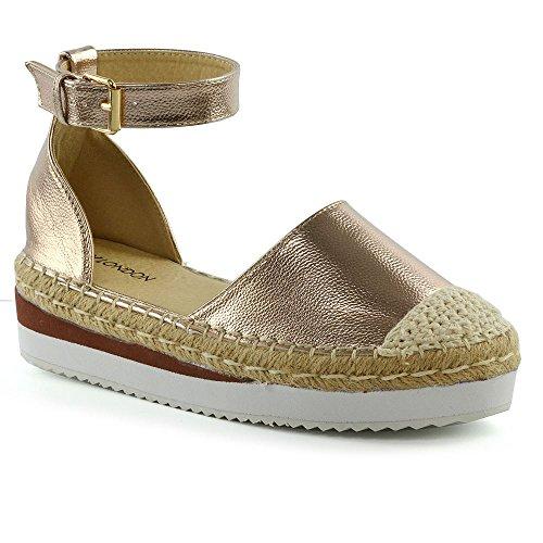 Wedge Sommer Damen Rose Gold Neue Schuhe Low Plattformen ESSEX Sandalen Größe GLAM Damen Mid Espadrilles wxz0qnX65O