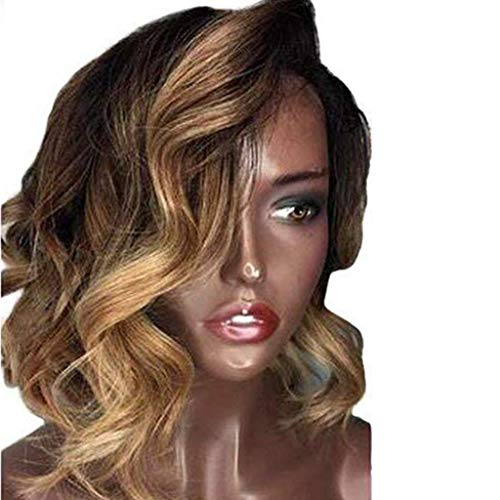 Hot Sale !!! Brazilian Short Wavy Curly Fiber Wig Brown Side Parting Woman Girl Extensions Wigs for for Cosplay,Party&Daily Use Costume Wig ()