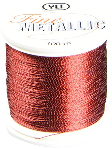 YLI 20501-RED T-24 Fine Metallic Nylon Thread, 100m, Red - Fine Metallic Nylon Thread