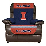 Deluxe Home Reversible Couch Cover - College Team Sofa Slipcover Set/Furniture Protector - NCAA Officially Licensed (Recliner, University Illinois Fighting Illini)