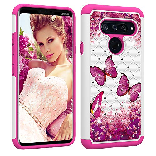 Berry Accessory LG V40 ThinQ Case,LG V40 Case Case,Luxury Glitter Sparkle Bling Case,Studded Rhinestone Crystal Hybrid Dual Layer Armor Case for LG V40 ThinQ/LG V40 Pink Butterly