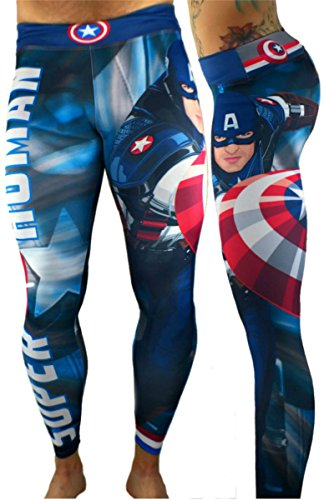 [Captain America Superhero Leggings Yoga Pants Compression Tights] (Captain America First Avenger Halloween Costume)
