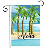 ShineSnow Aloha Summer Palm Tree Beach Garden Yard Flag 12''x 18'' Double Sided, Islands Scenery Landscape Ocean Sea Polyester Welcome House Flag Banners for Patio Lawn Outdoor Home Decor