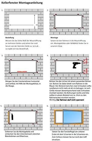Kellerfenster Braun Mahagoni Holzoptik BxH: 70 x 40 cm Kunststoff Fenster // wei/ß DIN Links