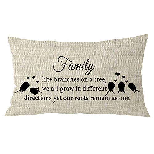 NIDITW Mothers Grandmothers Gift with Sayings Birds Heart Family Like Branches On a Tree Cream Burlap Throw Pillow Covers Pillow Case Pillow Sham Home Chair Sofa Decorative Rectangle 12x20 inches