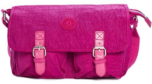 BHBS Bolso tipo Mensajero para Cruzar por el Pecho, en Tela Liviana y Doble Cierre Magnético 33x23x12 cm (LxAxP) - hot pink