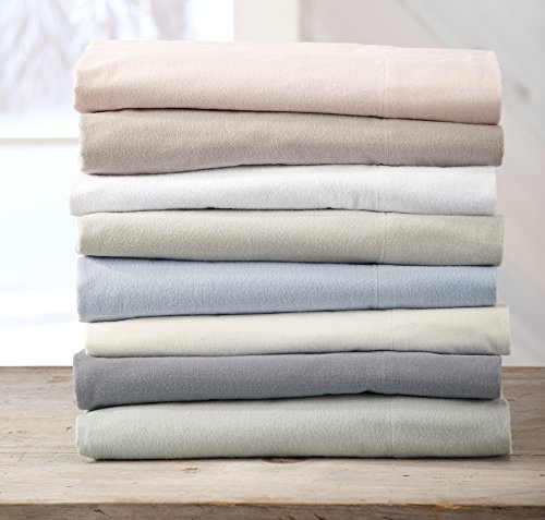Great Bay Home Extra Soft 100% Cotton Flannel Sheet Set. Warm, Cozy, Lightweight, Luxury Winter Bed Sheets in Solid Colors. Nordic Collection By Brand. (Full, Silver - Bay Sheet Set