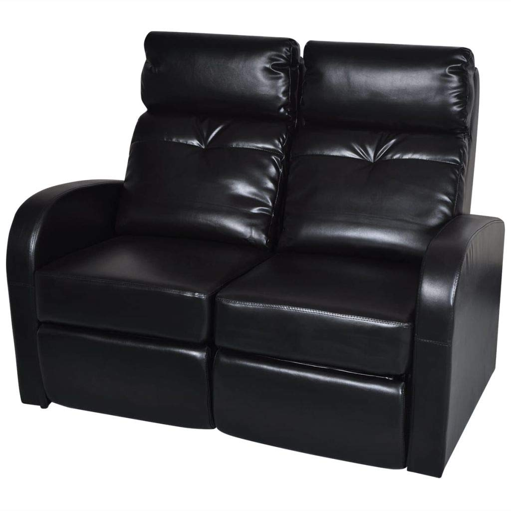 H.BETTER Leather Home Cinema Recliner Reclining Sofa 2-seat Loveseat Home Theater Seating Adjustable Backrest and Footrest Black by H.BETTER