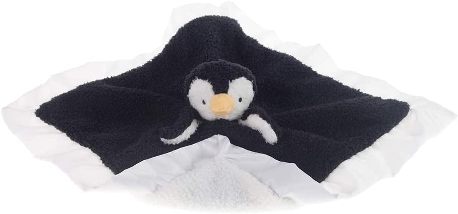 Apricot Lamb Stuffed Animals Soft Security Blanket Black Penguin Infant Nursery Character Blanket Luxury Snuggler Plush Black Penguin, 14 Inches