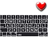 Keyboard Cover for Macbook Pro Air and iMac 13'' 13 15, and 17 Inch Fits 2015 Model and Older With Without Retina Display Casiii Silicone Thin Skin (Big Letters - Black)