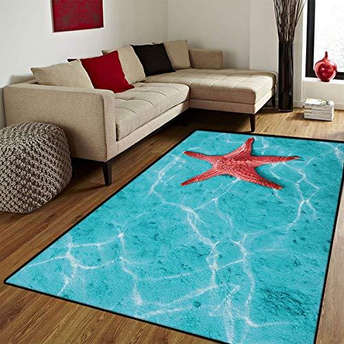 Sun Keyboard 6' (Starfish,Door Mats Area Rug,Red Starfish in The Vibrant Blue Water Sun Rays Reflection Aquatic Tropical Life,Customize Door mats for Home Mat,Aqua Red,6x8 ft)