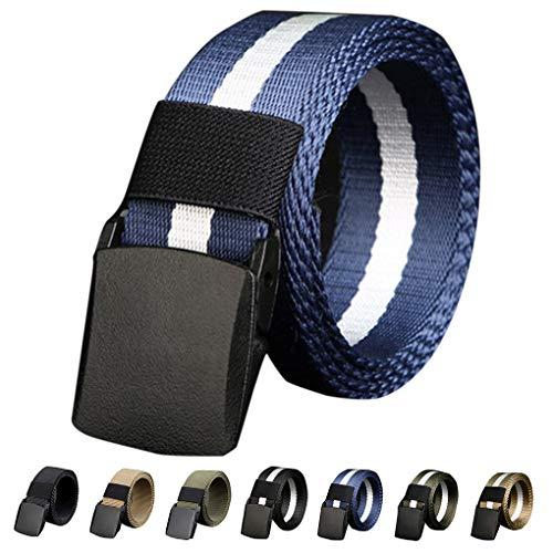Topfire Men's Belt No Metal Plastic Buckle Canvas Outdoor Belts Casual Jeans Belt