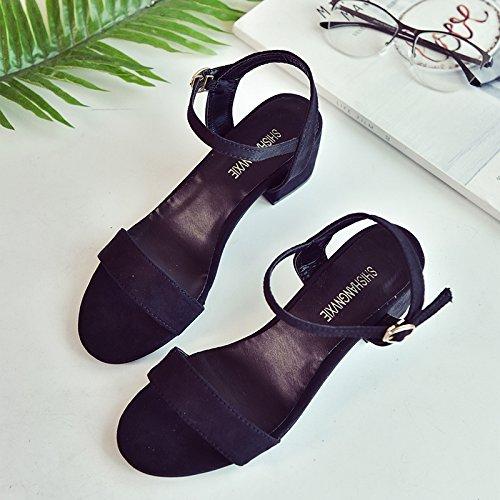 SHOESHAOGE Fijaciones Ranuradas, Sandalias Dew-Toe Mujeres con Zapatos De Mujer Zapatos De Moda High-Heeled En Roma,Eu34 EU37