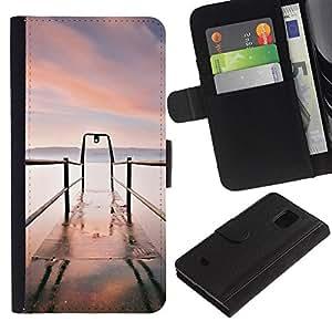 Billetera de Cuero Caso Titular de la tarjeta Carcasa Funda para Samsung Galaxy S5 Mini, SM-G800, NOT S5 REGULAR! / Nature Beautiful Forrest Green 49 / STRONG