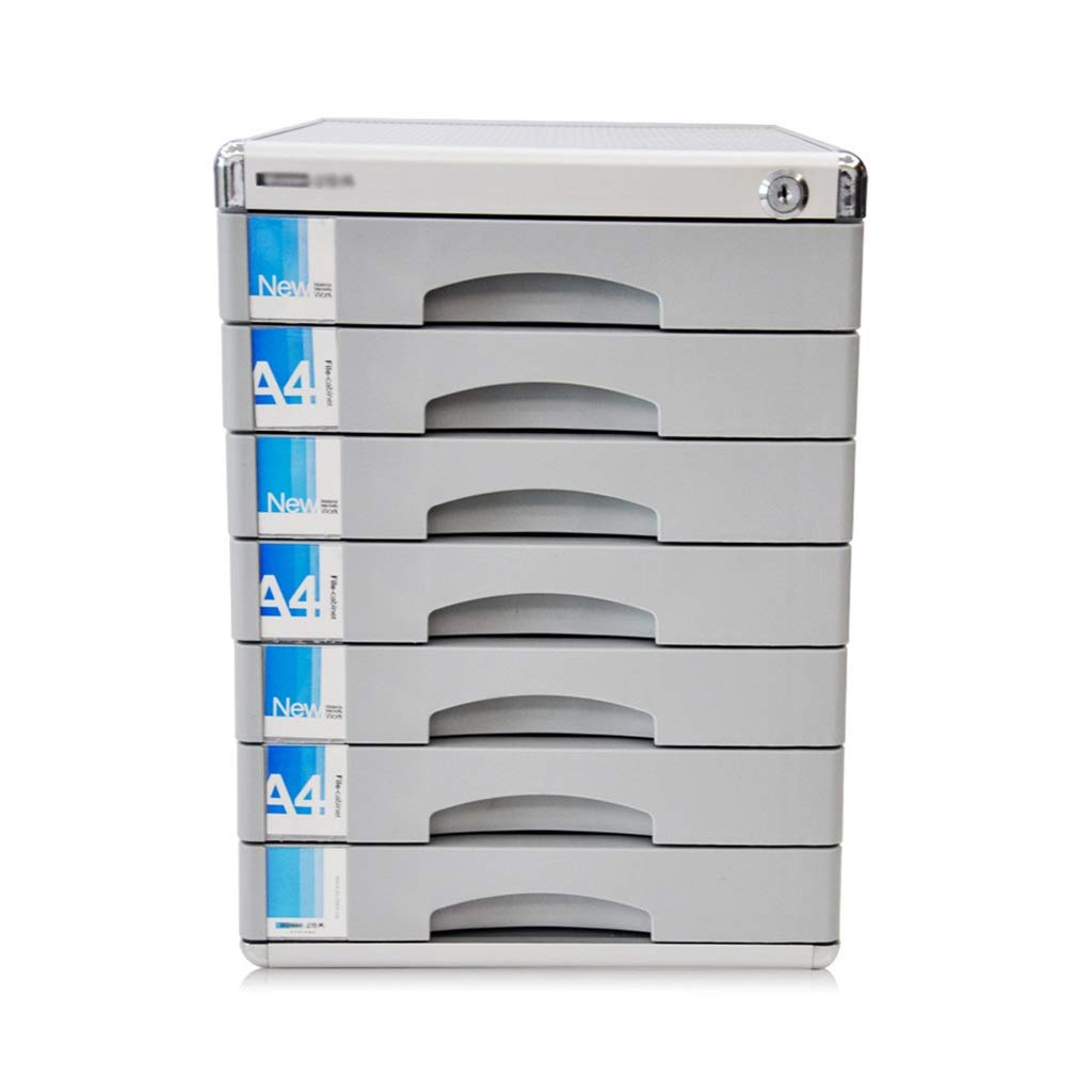 7 Layers Lockable Data Cabinet, Desktop File Cabinet with Drawer File Storage Cabinet Office Supplies Portable and Tidy Storage Box (Size : 12in14.4in16.2in