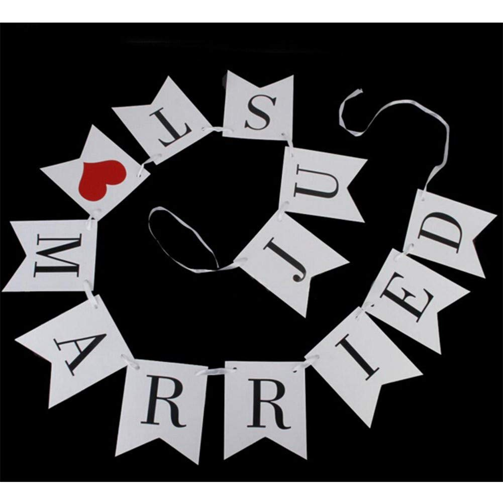 OUTANG Banner di Carta Striscione Lettera Appesa Decorazione Swallowtail Just Married Banner