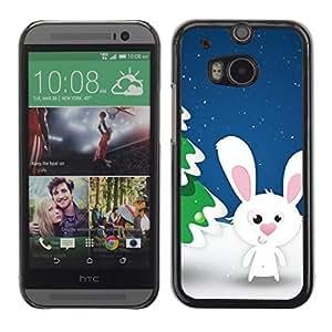 YOYO Slim PC / Aluminium Case Cover Armor Shell Portection //Christmas Holiday Cute Snow Rabbit 1204 //HTC One M8
