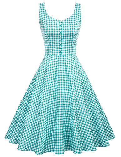 Belle Poque Floral Tea Dresses for Women for Wedding Guest Knee Length, Blue Plaid, Medium -