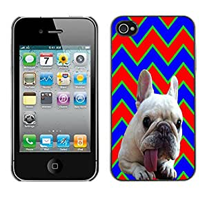 - FRENCH BULLDOG Chevron - - Monedero pared Design Premium cuero del tir¨®n magn¨¦tico delgado del caso de la cubierta pata de ca FOR Apple iPhone 4 4S 4G Funny House