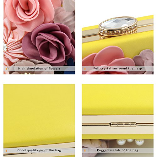 Yellow Purse Clutch Evening Bag Women Clutch Handbag Flower Bag Milisente Wedding xpSw1Aqvn