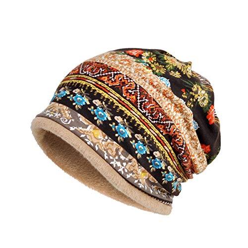 Womens Soft Cotton Boho Ethnic Flower Print Stripe Slouch Beanie Infinity Scarf (Fleece Brown) (Spandex Crown Balaclava)