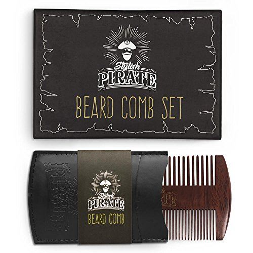 Comb Case - Premium Beard Comb Set for Your Amazing Groomed Beard - Fine and Coarse Teeth for Any Type of Beard - Quality Sandalwood Comb to Use With Balm and Oil - Bonus: Pu Leather Case for Your Pocket Comb