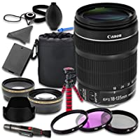 Canon EOS Rebel SL1 DSLR Camera Accessories Kit with Canon EF-S 18-135mm f/3.5-5.6 IS STM Lens + 2.2x Telephoto Lens + 0.43x Wideangle Lens + Lens Bag + Extra Battery + 3 PC Filter Kit + Tripod