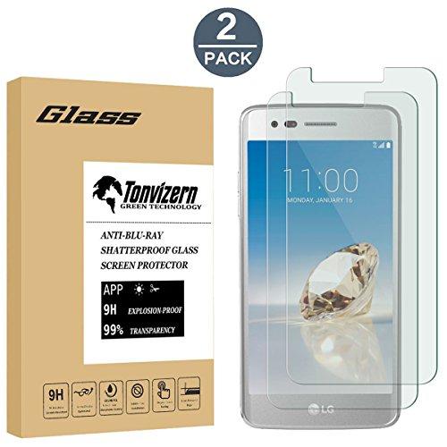 [2 Pack]LG Aristo Tempered Glass Screen Protector, Anti-Scratch Ultra Clear 9H Premium 0.26mm HD Screen Protector Film for LG Aristo 2' Slim Attache Case