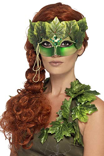 Smiffys Unisex Forest Nymph Eye mask, Fabric Leaves and Jewels, Green, One Size, -