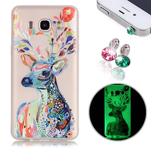 TPU Case for Samsung Galaxy J7 2016, Pershoo Soft Rubber Durable TPU Non slip Anti-Scratch Luminnous Colorful Painting Fawn Case Skin Cover For Galaxy J7 (+ 2Pcs Shine Diamond Dust - Samsung Phone Skins Cell