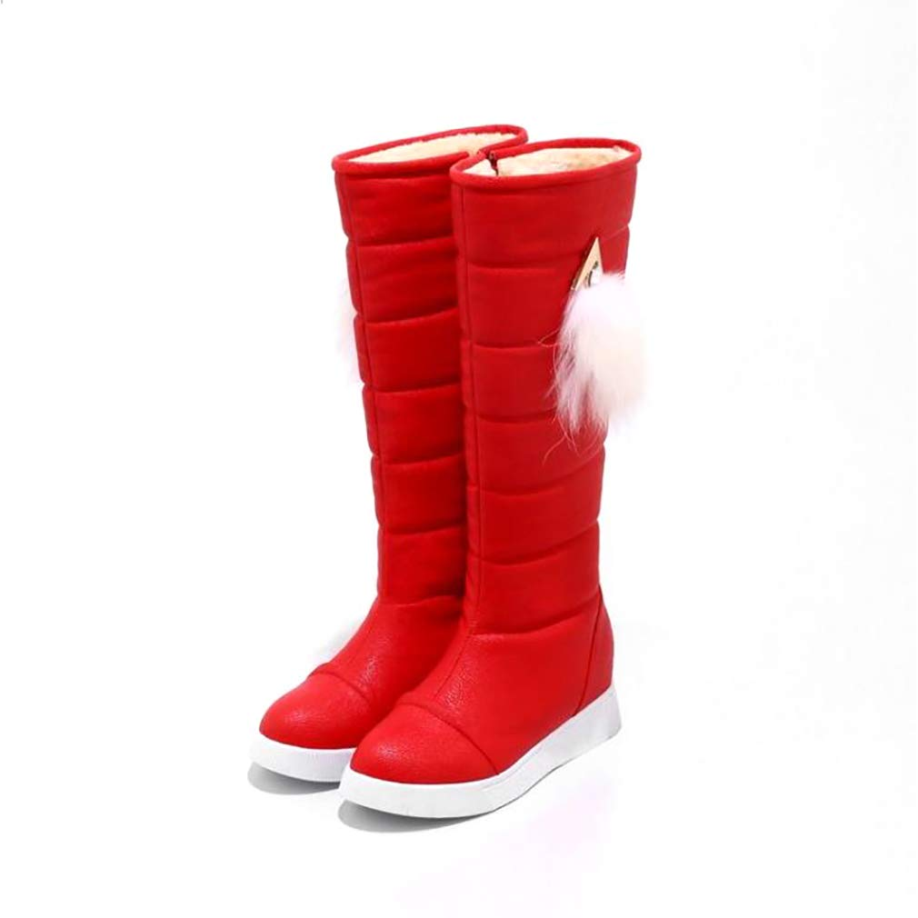 Hy 2018 Frauen Stiefel Künstliche PU Plus Dicke Schneeschuhe Stiefel Stiefel Stiefel Damen Flache Stiefel Student Warm Casual Hohe Stiefel Outdoor Sports Stiefel (Farbe   Rot Größe   36) 69888d