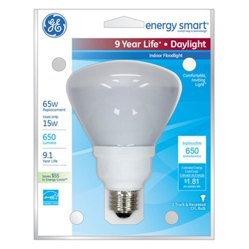 GE 78950 Energy Smart CFL, R30 Flood Light Bulbs, 15-Watt (65W Replacement), 650-Lumen, 6500K Daylight, E26 Medium Base, 6 Pack ()