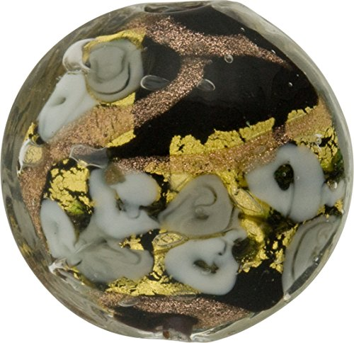 Black with Gray Roses & Aventurina and 24kt Gold Foil Bed of Roses 25mm Murano Glass Bead Handmade Lampwork