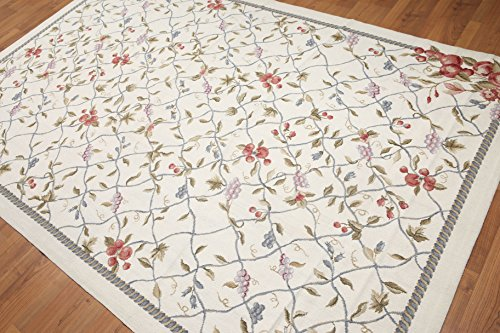 6'x9' Goblin Beige, Gray, Brown, Rose, Rust, Blue, Multi Hand Woven Chantilly Design Needlepoint Aubusson Wool Oriental Area ()