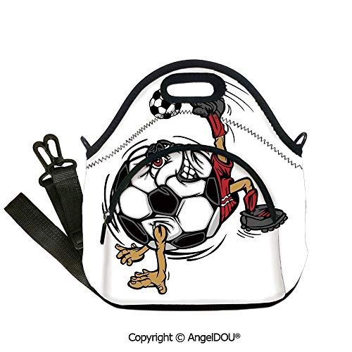 AngelDOU Sports Decor Fashion shoulder Neoprene lunch bag Soccer Football Player Cartoon Character Kicking Playing Exercising Theme for women Portable Insulated lunch box bag.12.6x12.6x6.3(inch)