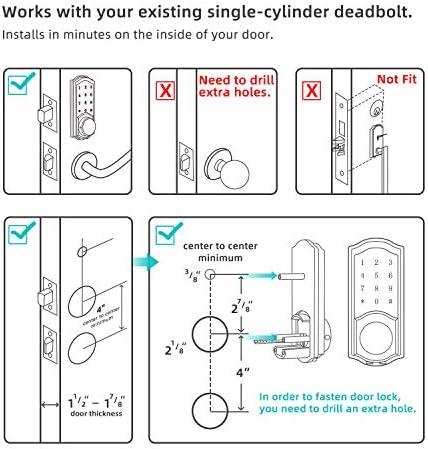 [2020 Newest Version] Keyless Entry Door Lock Deadbolt, Smart Lock Front Door, Electronic Door Locks with Keypads, Digital Auto Lock Bluetooth Smart Door Locks for Homes Bedroom 51dZ14p 2BCjL