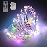 YOMM Flexible Fairy String Lights Battery Operated Waterproof with Remote Control 8 Modes 100 LED String Lights 10M/32.8FT Copper Wire Firefly Lights (Multi-colored)