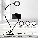 LS Photography Selfie Ring Light with Gooseneck Extension Bar & Spring Clamp Mounting Adapter & Spring Cell Phone Clip Holder, 3-Level Brightness Control Switch, USB Power Cable Port, LGG623