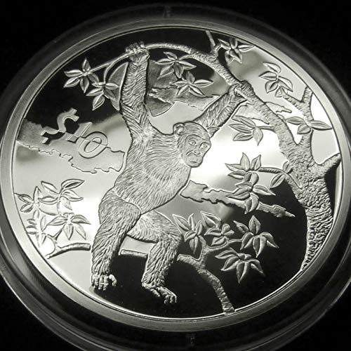 CHIMPANZEE Sterling Silver Proof Coin in Box with Certificate of Authenticity - 2006 Sierra Leone $10 Dollars - African Animals Series