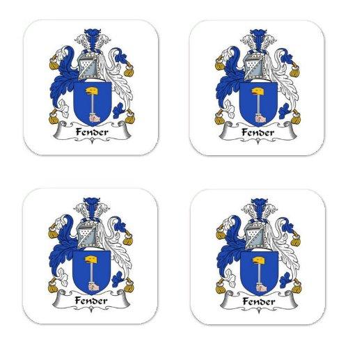 Fender Family Crest Square Coasters Coat of Arms Coasters - Set of -