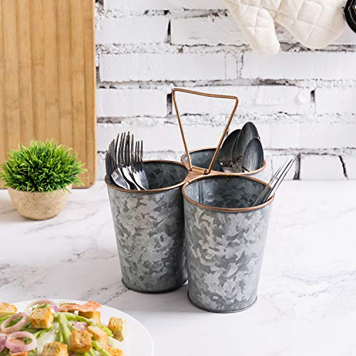 MyGift Galvanized Metal Picnic Flatware Caddy with Copper Finished Rim & Handle