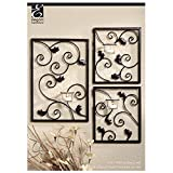 Hosley Set of 3 Wall Sconce Iron Tea Light Set - One Large 15'' High and Two Small 8'' High. Modern Wall Art Plaque for Your Home, Spa, LED Aromatherapy or As a Gift O3