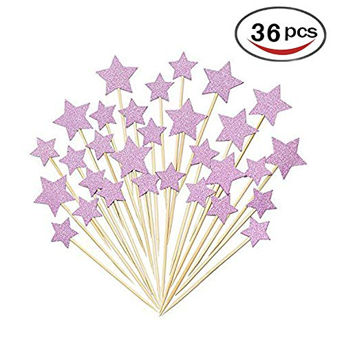 (36 Pcs Twinkle Star Cupcake Toppers DIY Glitter Mini Birthday Cake Snack Decorations Picks Suppliers Party Accessories for Wedding Baby)