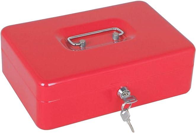 LIOOBO Caja de Caja metálica con Cerradura Caja de Caja Fuerte de Caja de Dinero Mini Caja de Caja registradora con Moneda para Caja Chica (Rojo): Amazon.es: Hogar