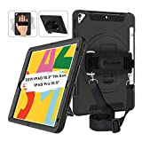 Miesherk iPad 7th Generation Case, iPad 10.2 Case 2019 with Pencil Holder, 360 Rotatable Stand Adjustable Strap, Shockproof Case for iPad 7th Gen Case 10.2''/ iPad Air 3/Pro 10.5' 2017/2019, Black