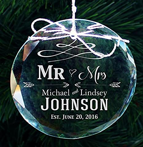 Personalized Family Christmas Ornament, Custom Etched Handmade Crystal Ornaments - COR31 - Custom Crystal